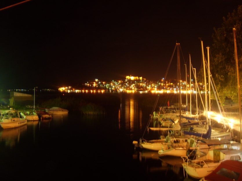 The lights of a small port in the night