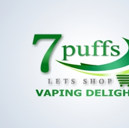 7 puffs logo desgin and the slogan Vaping delights