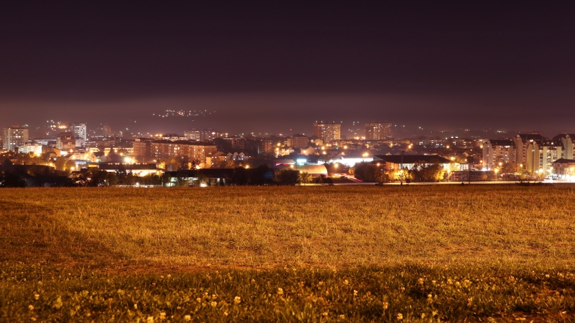 Night photography over the city.