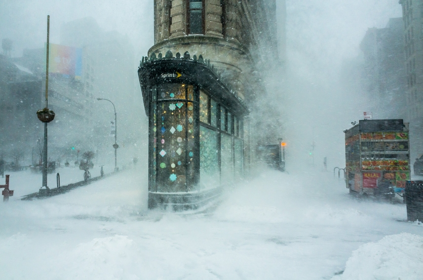 Flatiron Building in the snowstorm