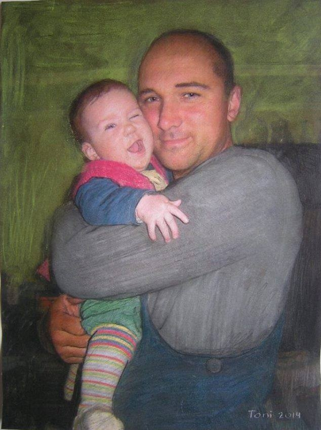 Artist with hes son