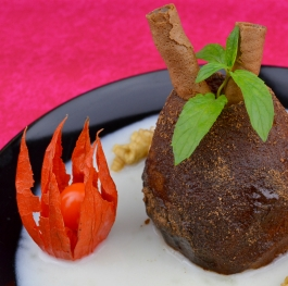 Poached pear with toffee sauce