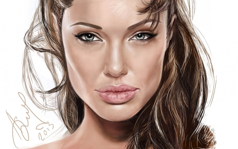 Angelina Jolie portrait painting by Alexsandra Vali