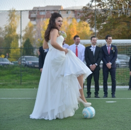 BRIDE, GROOM AND FOODBALL