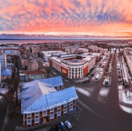 Sunrise in the center of Petrozavodsk