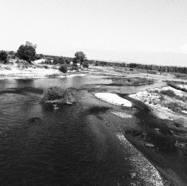 The Struma River near Topolnitsa village is black and white