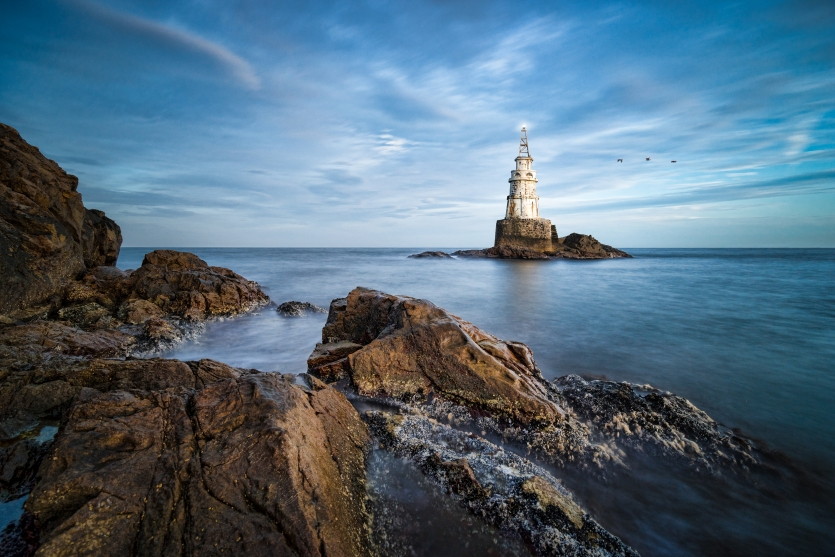Lighthouse after sunset in Ahtopol, Bulgaria