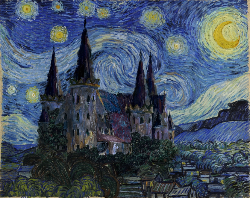 "Starry night over the castle ""in love with the wind """
