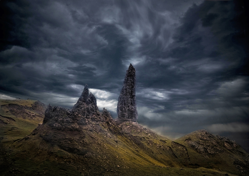 Old Man of Storr in a storm