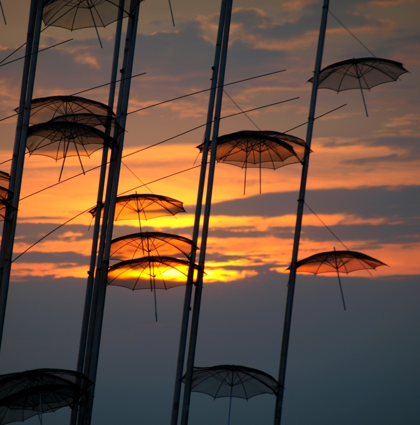 Thessaloniki Umbrellas in the sunset