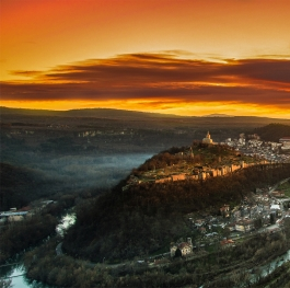 Dramatic sunset over Tsarevets fortress