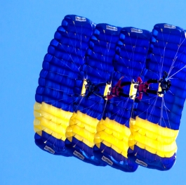 Blue parachutes in the sky