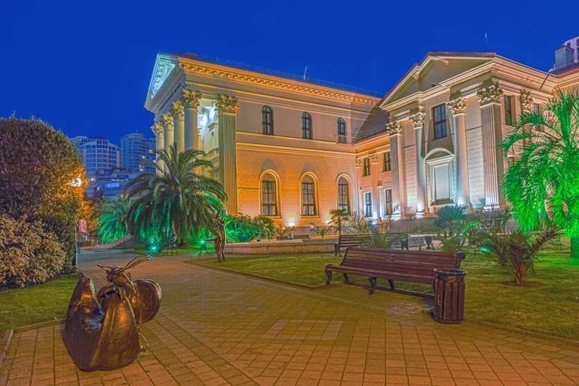 The art museum in Sochi at night