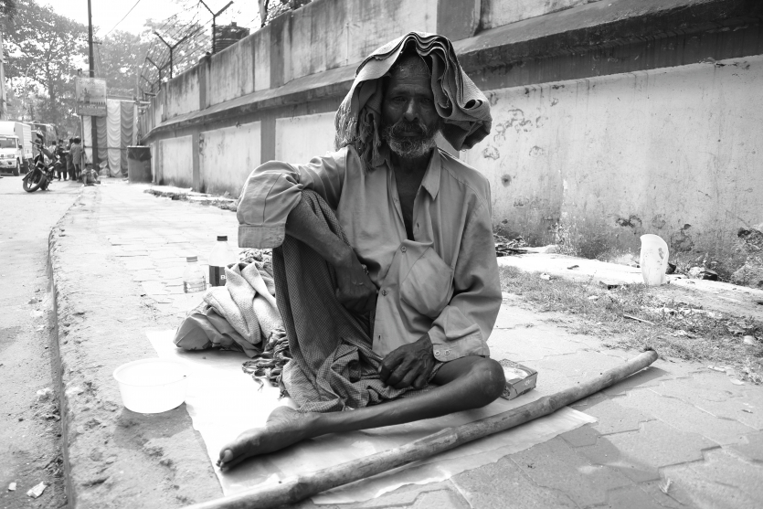A old homeless man