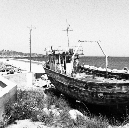 Attractive boat on the coast in Chernomorets